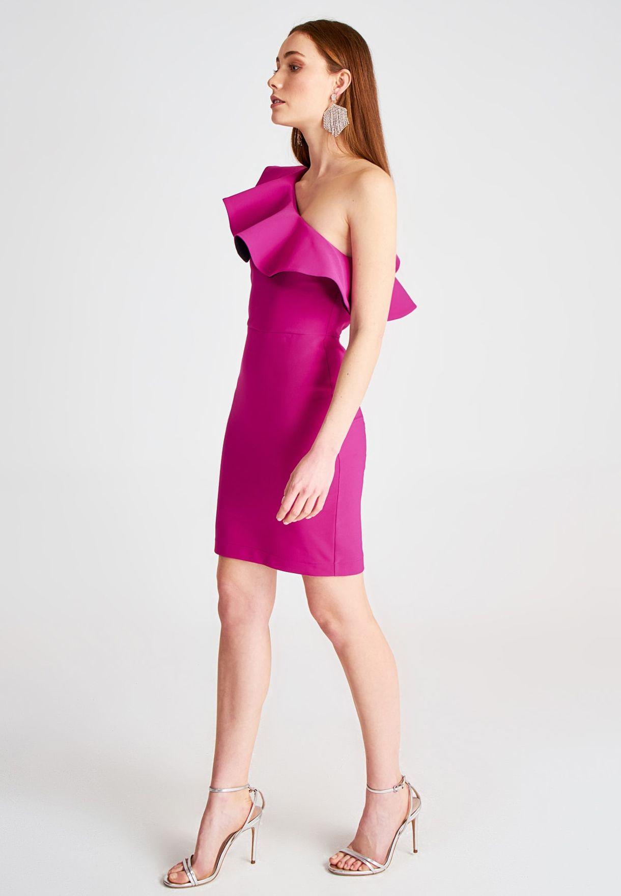 Buy Trendyol Pink Ruffle Trim Bodycon Dress For Women, Uae 27680atgngdp