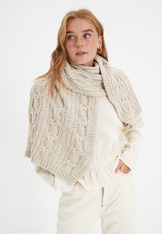 Beige Knit Detailed Knitwear Scarf