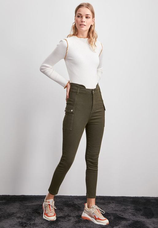 Pocket Detail High Waist Jeans