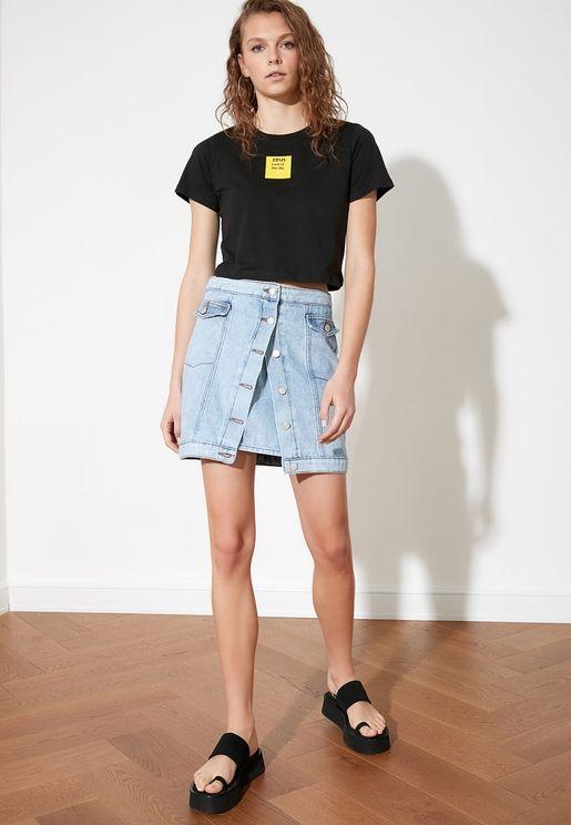 Front Buttoned Detail Mini Denim Skirt