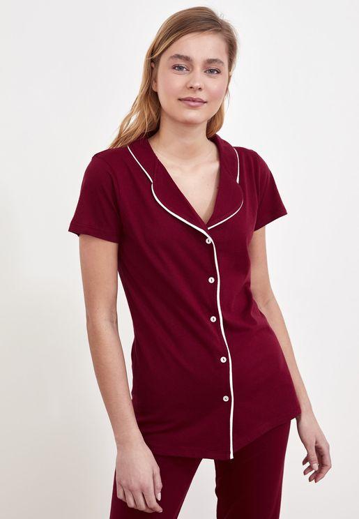 Piping Detail Shirt & Pyjama Set