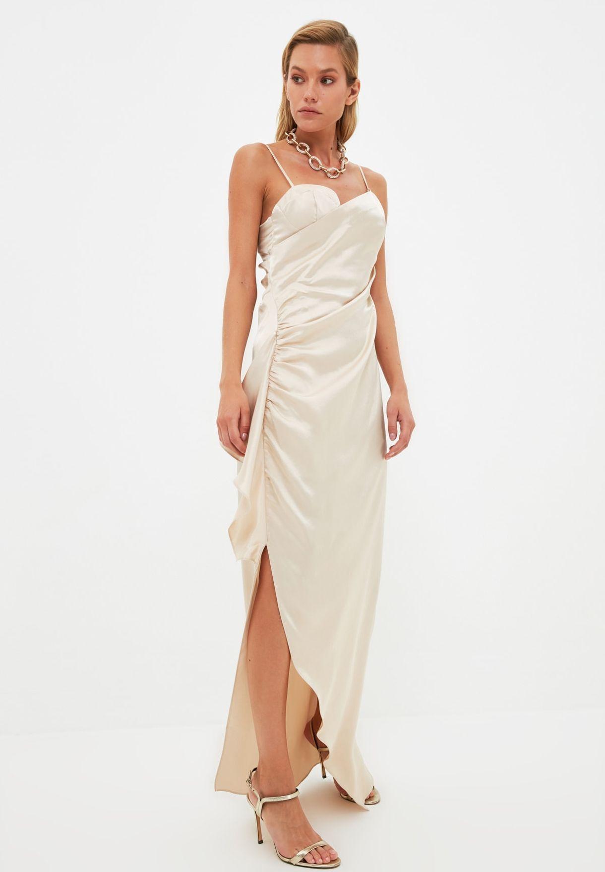Side Split Ruched Detail Dress