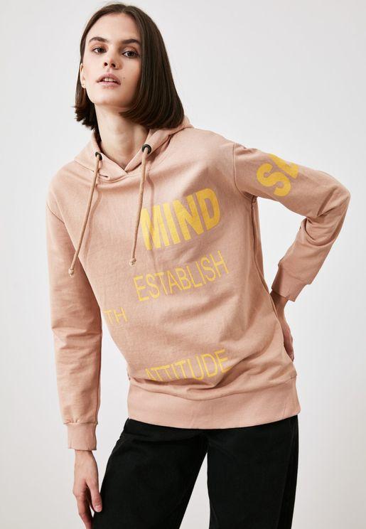 Knitted Printed Hoodie