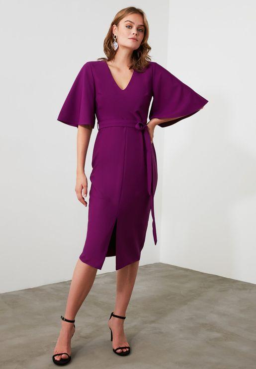 Front Split V-Neck Dress