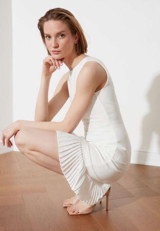 Plisse Detail Bodycon Dress