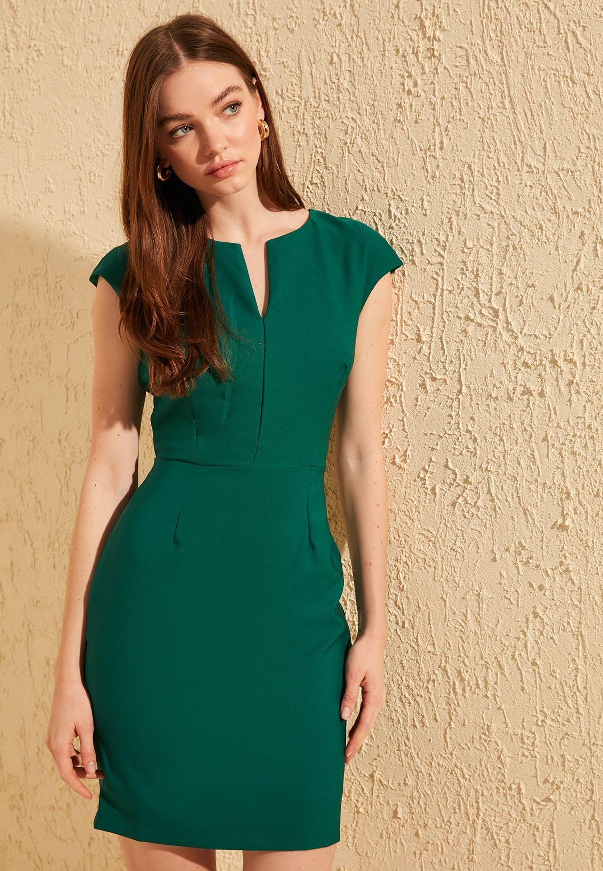 Notch Neck Bodycon Dress