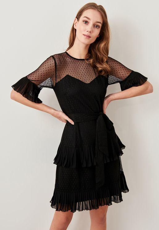Polka Dot Sheer Tiered Dress