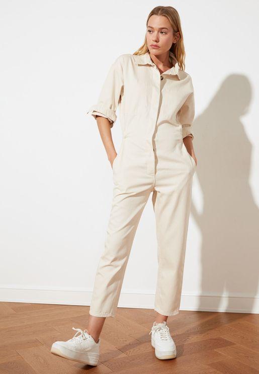 Denim Knitted Jumpsuit