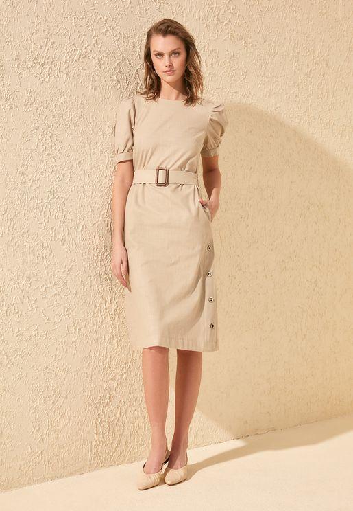 Puff Sleeve Button Detail Dress