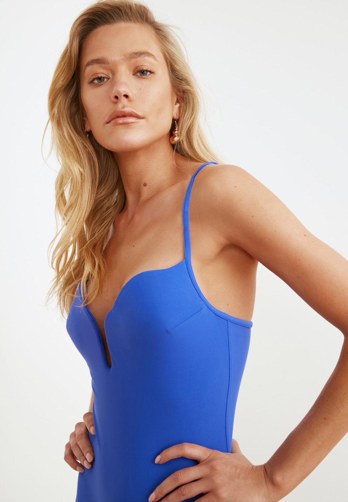 Notch Neck Plunge Swimsuit