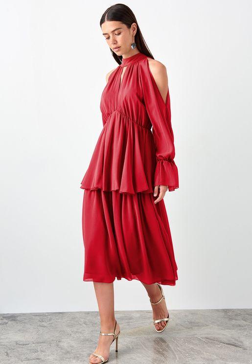 Flute Sleeve Layered Mesh Dress