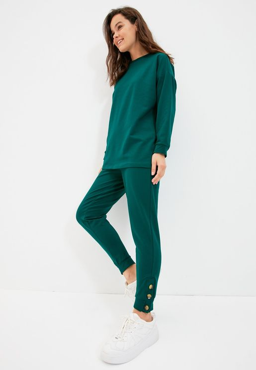 Crew Neck Knitted Top & Pants Set