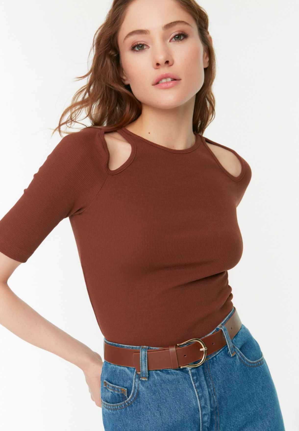 Leather Look Allocated Hole Belt