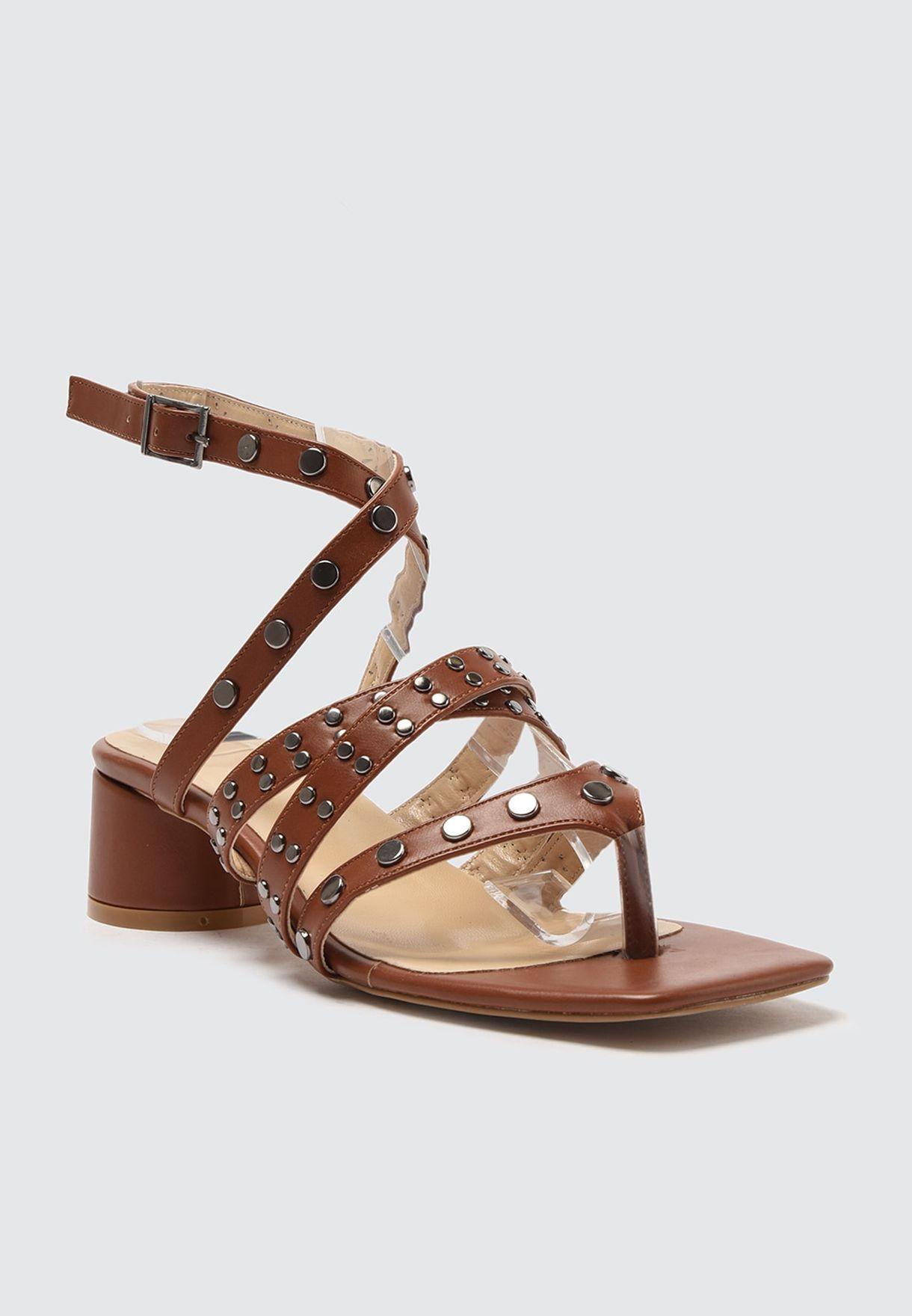 Ankle Strap Mid Heel Sandals