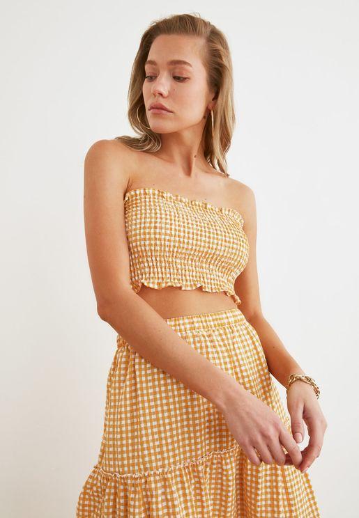 Checked Bandeau Crop Top & Skirt Set