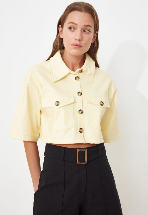 Button Down Crop Shirt