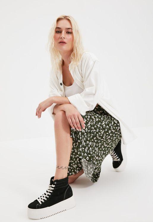 Front Slit Floral Print Skirt