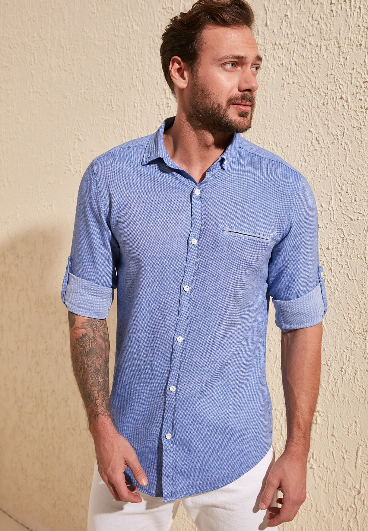 Fillet Pocket Slim Fit Shirt