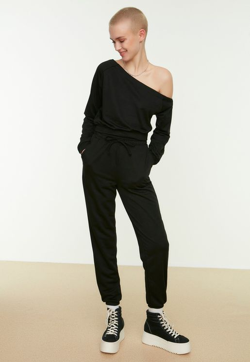 One Shoulder Sweatshirt & Pants Set
