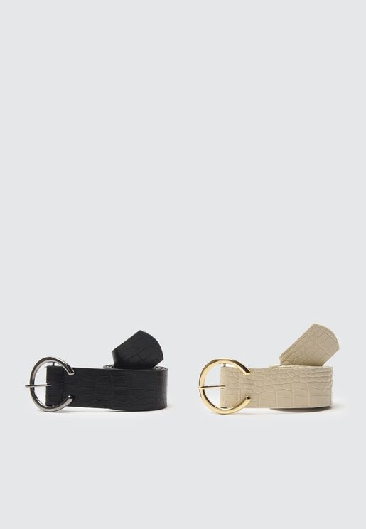 Leather Metal Buckle Belt Set