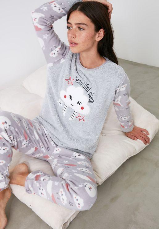 Cloud Printed Wellsoft Pajamas Set
