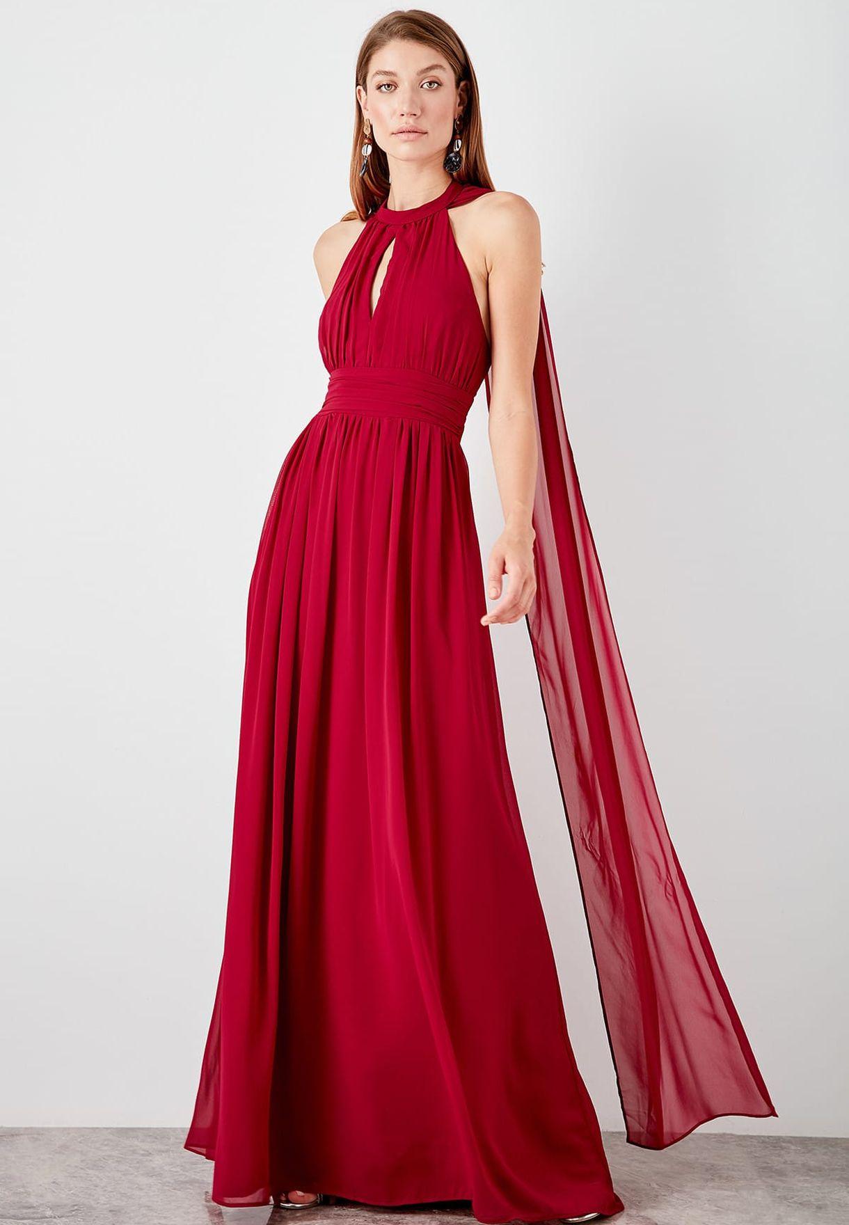 e3fcb1e8f Shop Trendyol red Halter Neck Cape Maxi Dress TPRSS19UT0040 for ...
