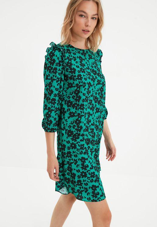 Floral Print Ruffle Detail Dress