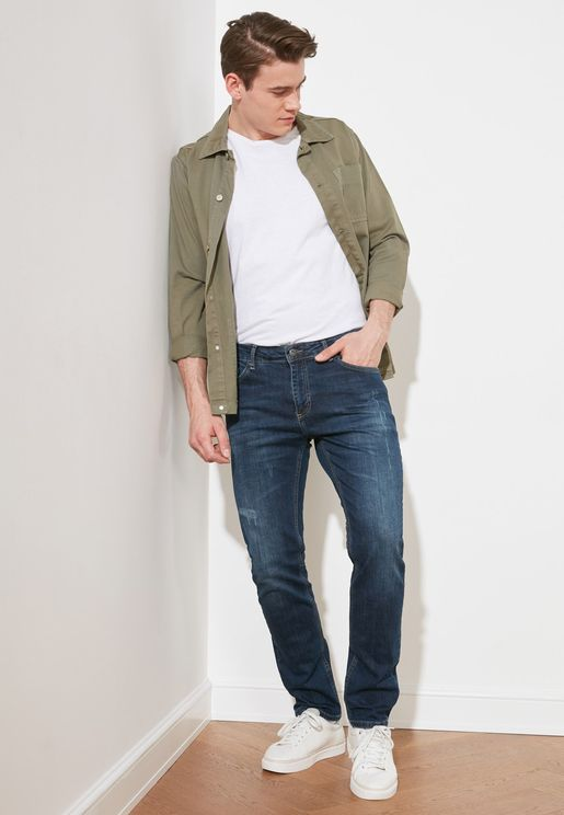 Ripped Detailed Normal Wash Slim Fit Jeans