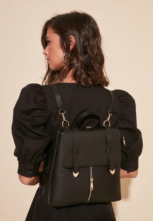 Zip Detail Flap Over Backpack