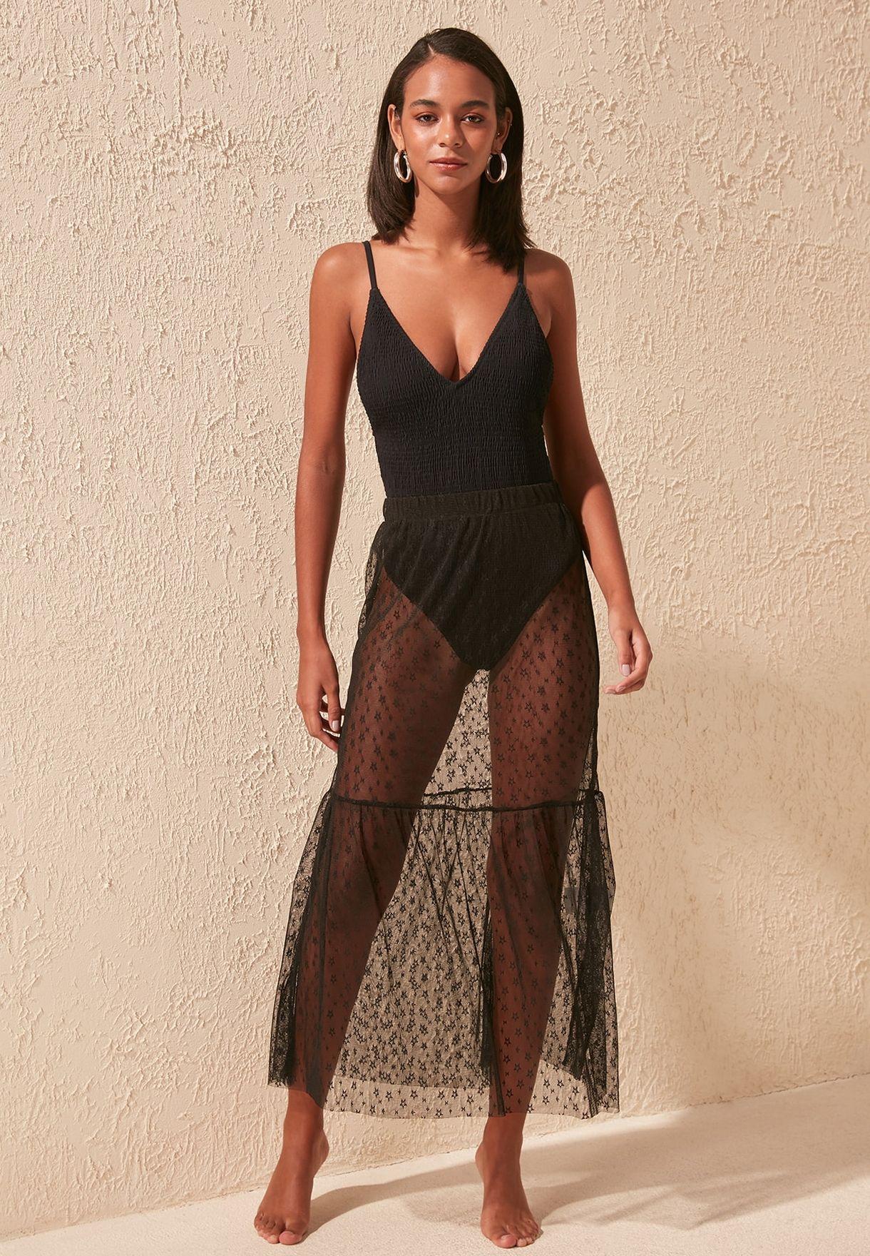 Ruffle Hem Mesh Skirt