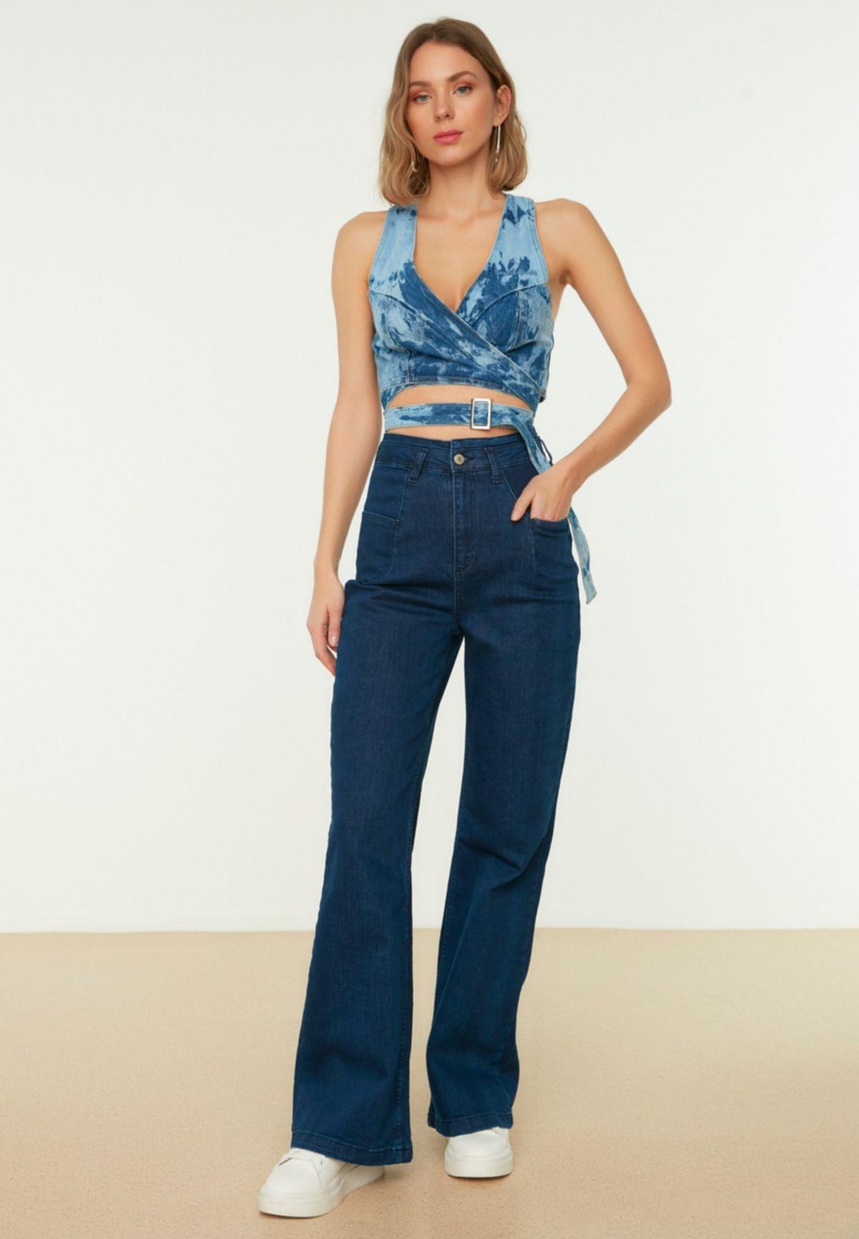 Seam Detail High Waist Jeans