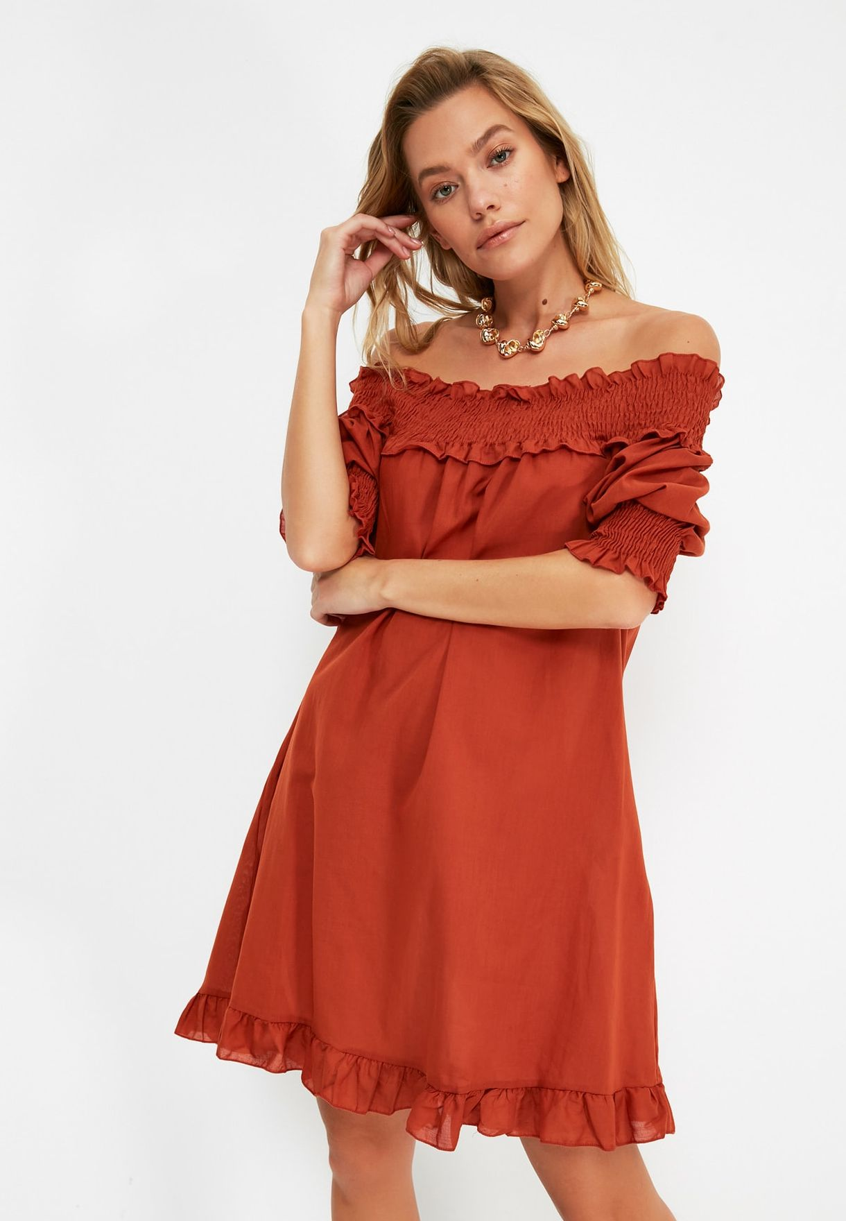 Bardot Shirred Dress