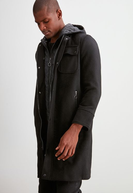 Pocket Detail Hooded Coat