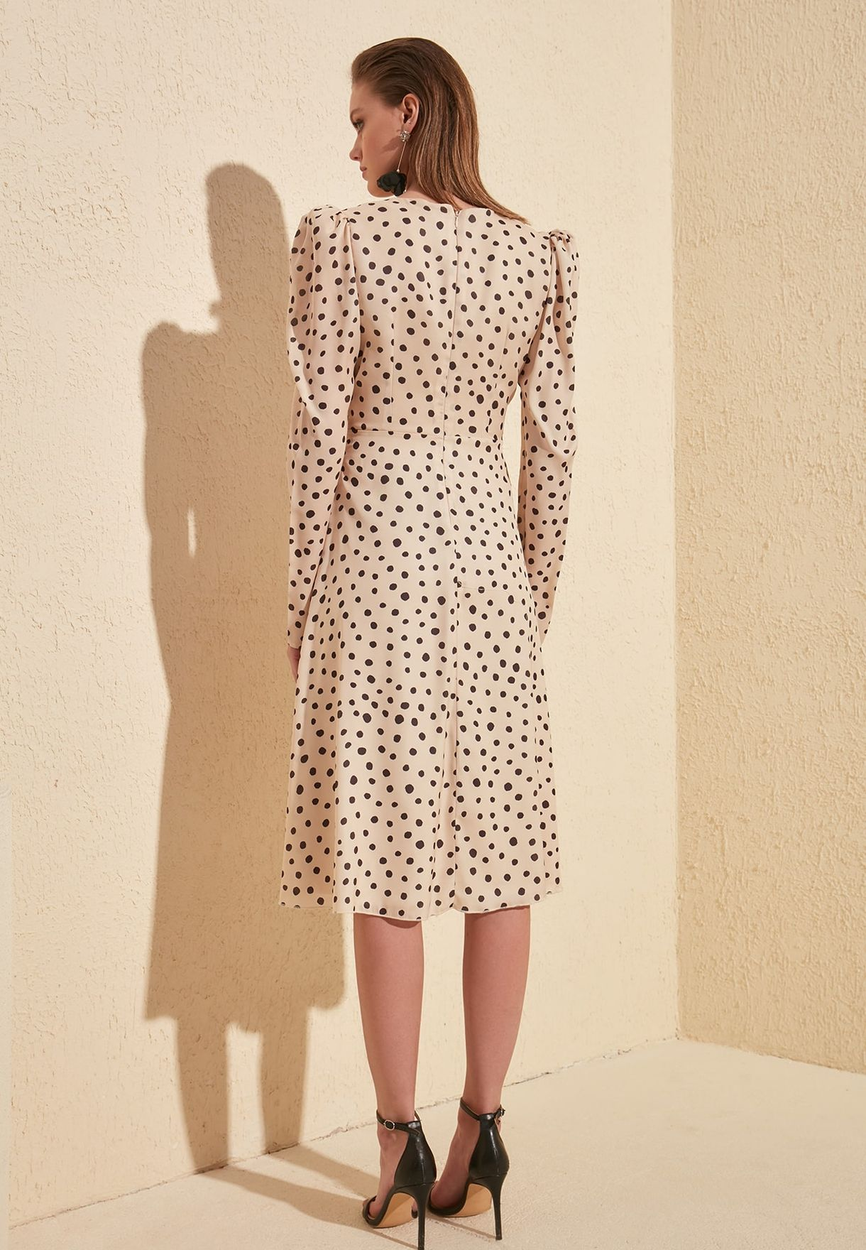 Polka Dot Puff Sleeve Dress