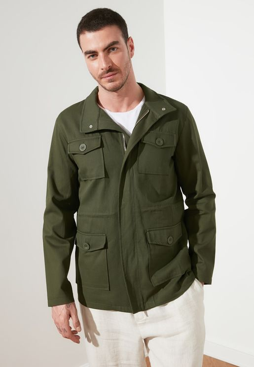 Pocket Detail Long Jacket