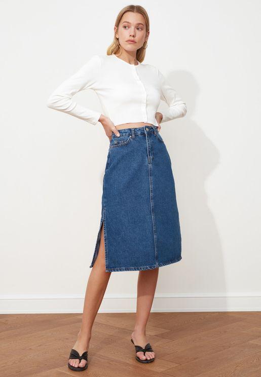 Pleated Denim Midi Skirt