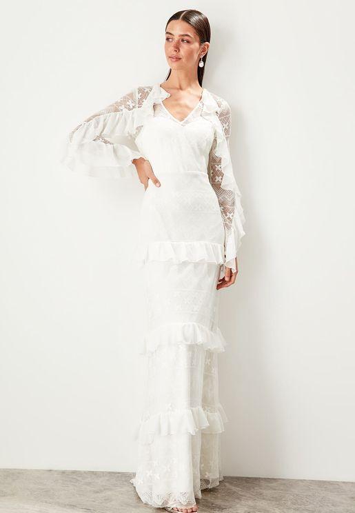 Ruffle Detail Layered Sheer Sleeve Dress