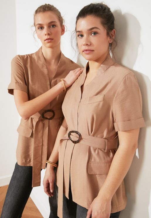 Buckle Detail Roll Sleeve Blazer