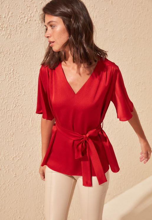 Pleated Wide Sleeve Top