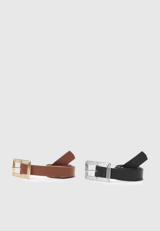 Leather Metal Buckle Belt Set