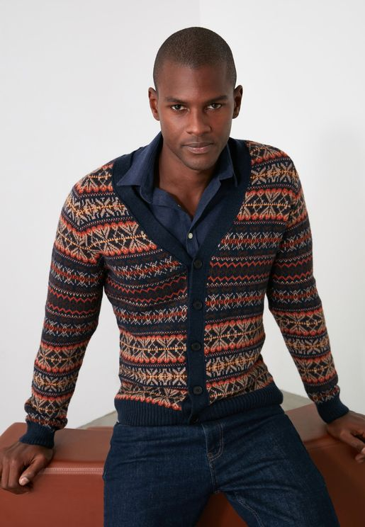 Jacquard Buttoned Cardigan