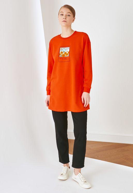 Crew Neck Knitted Sweatshirt