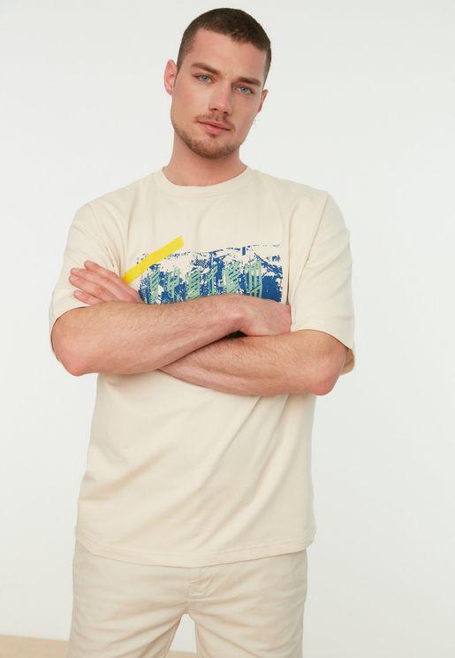 Graphic Oversize Short Sleeve Sweatshirt