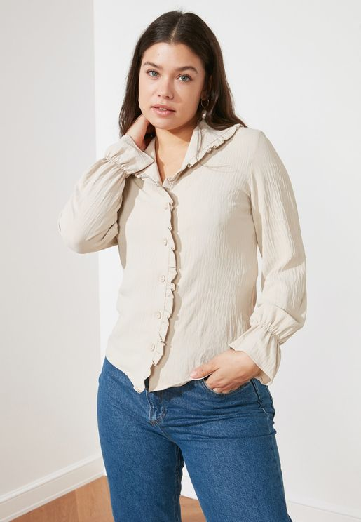Ribbed Ruffle Detail Shirt