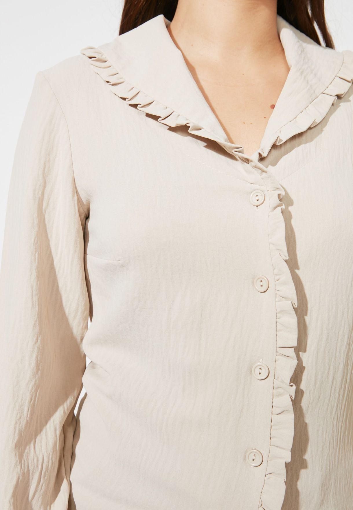 Ribbed Ruffle Detail Shirt