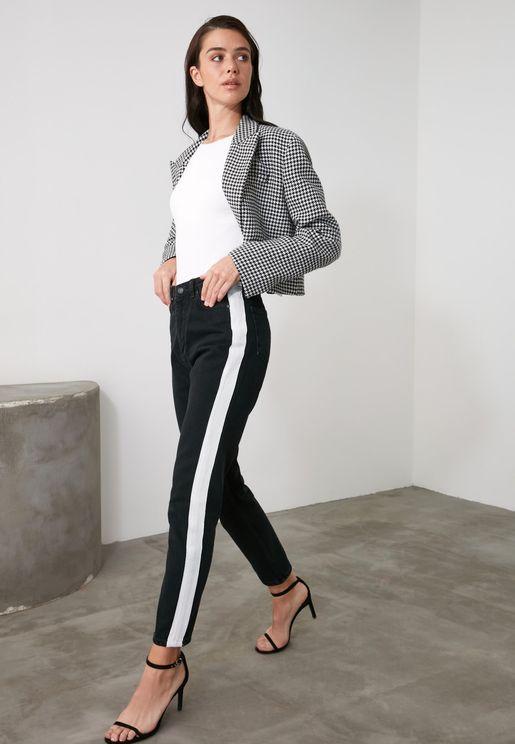Side Stripe High Waist Mom Jeans
