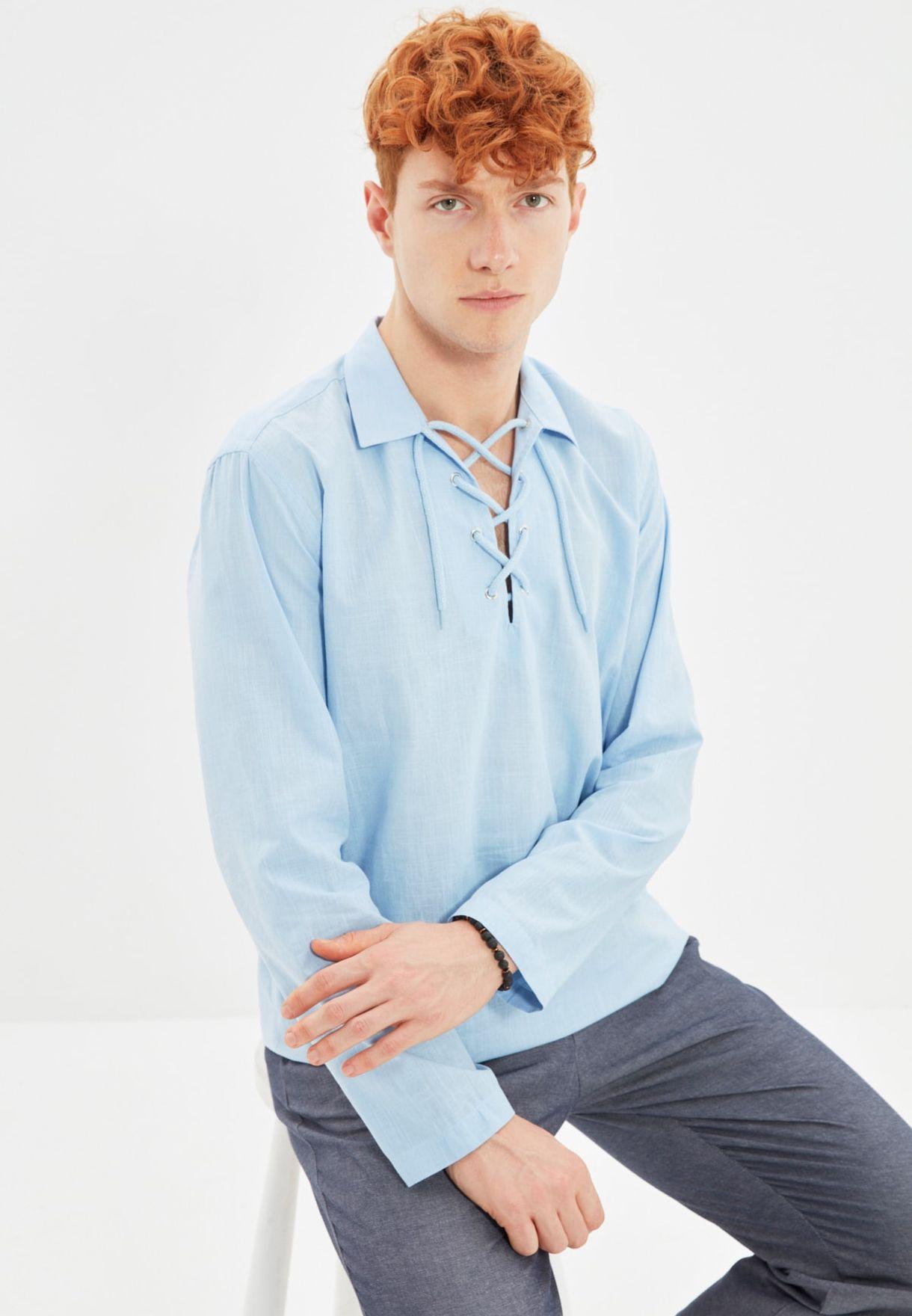 Lace Up Regular Fit Shirt