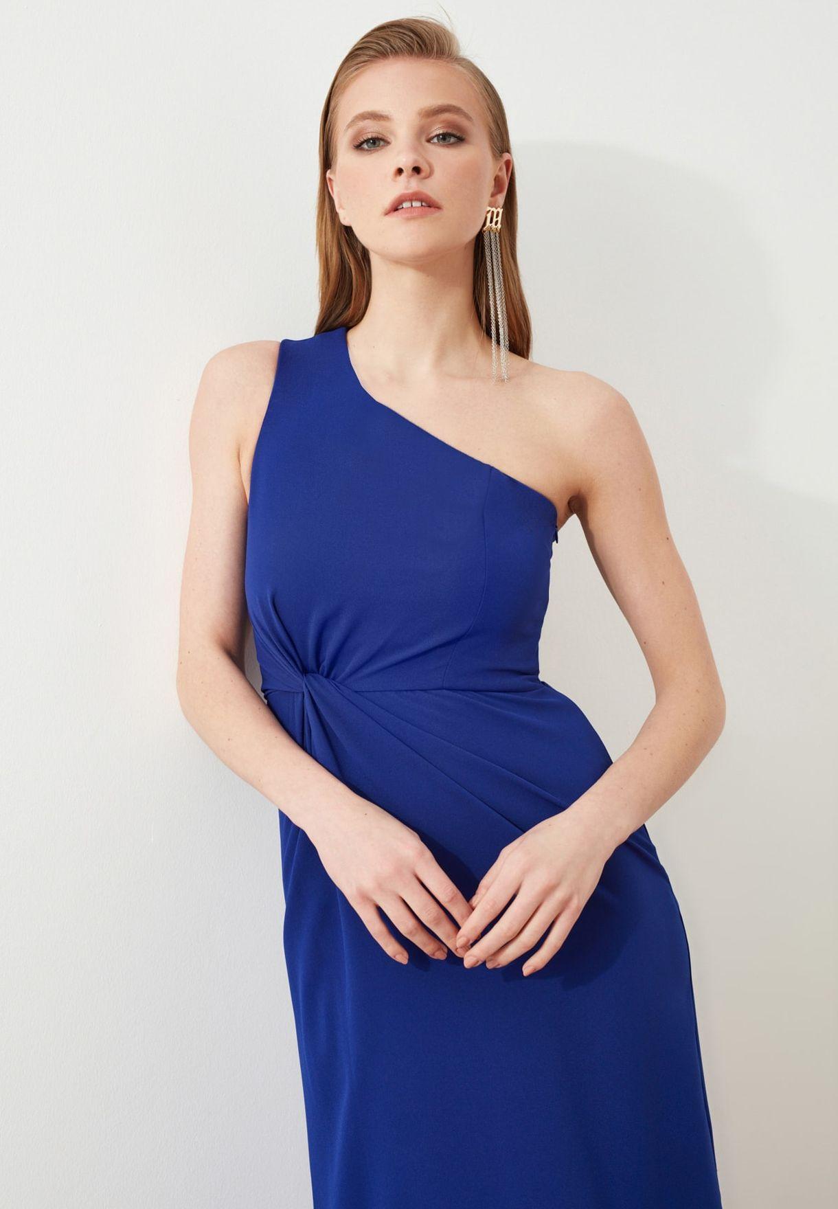 One Shoulder Side Split Dress