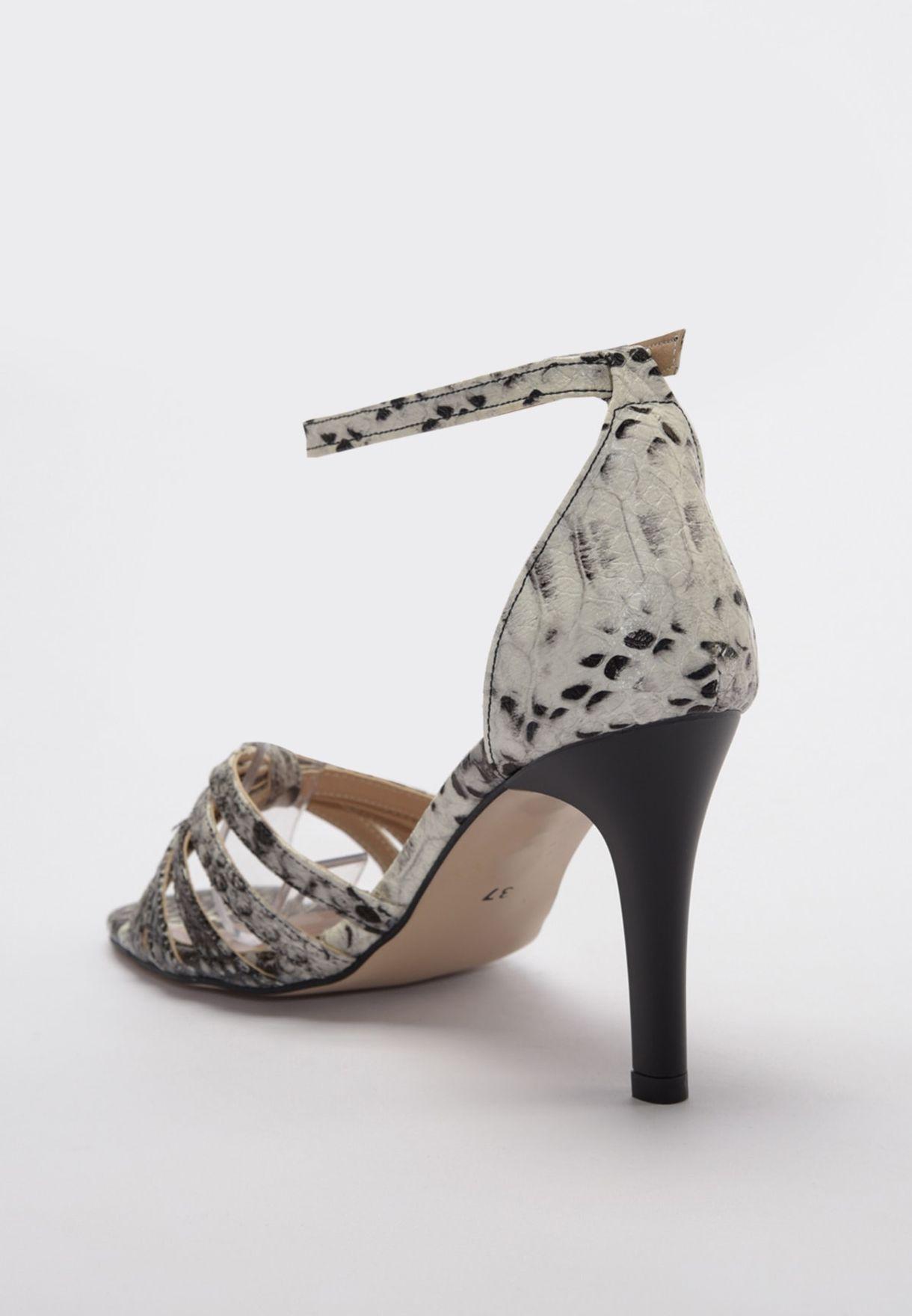 Snake Print Ankle Strap Sandal
