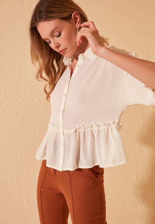 Wide Sleeve Peplum Shirt